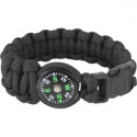 Black Survival Paracord Cobra Bracelet w/ Buckle & Compass
