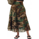 Women's Woodland Camouflage Cotton Long Summer Tiered Gauze Skirt