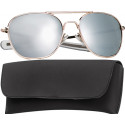 Gold Frame With Mirror Lenses Military Pilots Aviator Sunglasses w/Case