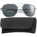 Chrome Military 58mm Pilots Aviator Sunglasses (Smoke Lenses)