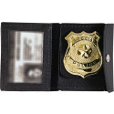 Black Leather Police ID & Badge Holder