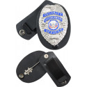 Black Leather Clip On Badge Holder With Swivel Snap