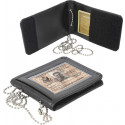 Black Leather Identification ID Holder With Neck Chain