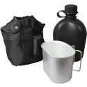 Black Military 3 Piece Canteen Kit With Cover & Aluminum Cup