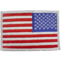 Red White Blue/White Border Embroidered REVERSE US Flag Patch