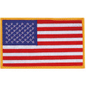 Red White Blue/Gold Border Jumbo USA American Flag Patch Embroidered