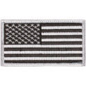 "Silver Forward USA American Flag Hook Patch 1 7/8"" x 3 3/8"""