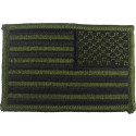"Olive Drab Subdued Embroidered REVERSE US Flag Patch 2"" x 3"""