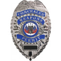 Silver Deluxe Concealed Weapons Permit Badge