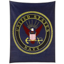 "Navy Blue US Navy Military Insignia Fleece Blanket (50"" x 60"")"