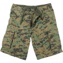 Woodland Digital Camouflage Vintage Military Paratrooper Cargo Shorts