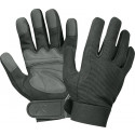 Black Military Leather Mechanics Gloves