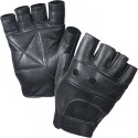 Black Military Leather Fingerless Biker Gloves