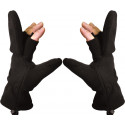 Black Fleece Sniper Fingerless Mitten Gloves