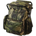 Woodland Camouflage Military Deluxe Backpack & Stool Combination