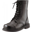 "Black Leather Military Steel Toe Combat Boots (9"")"