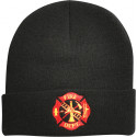 Black Law Enforcement Fire Department Knitted Winter Hat Acrylic Watch Cap