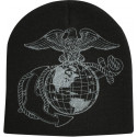 Black Military USMC Globe & Anchor Warm Acrylic Beanie Skull Cap