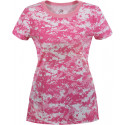 Women's Pink Digital Camouflage Longer Slim T-Shirt