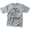 Grey USMC Globe & Anchor Official USMC Distressed Logo T-Shirt