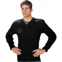 Black Military 100% Wool Tactical V-Neck Sweater