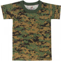 Woodland Digital Camouflage Kids Military Tactical T-Shirt