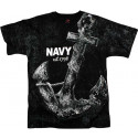 Black US Navy Anchor Vintage T-Shirt
