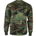 Woodland Camouflage Long Sleeve Military T-Shirt