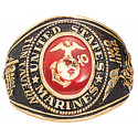 Gold United States Marines Corp USMC Deluxe Engraved Ring
