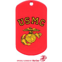 Red USMC Globe & Anchor Stenciled Dog Tag