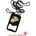 Black USMC Globe & Anchor Dog Tag Bottle Opener