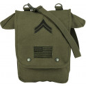 Olive Drab Military Heavyweight Canvas Map Case Shoulder Bag With Patches