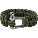 Olive Drab Survival Paracord Cobra Bracelet with D-Shackle