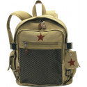 Khaki Vintage Military Deluxe Red Star Backpack