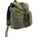 Olive Drab Military Stonewashed Canvas Backpack With Leather Accents