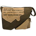 Olive Drab & Tan Vintage Military Imprinted Map Case Bag