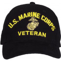 Black US Marine Corps Globe & Anchor Veteran Adjustable Baseball Hat Cap