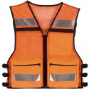 Safety Orange High Visibility Mesh Safety Vest w/ Reflective Stripes