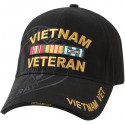 Black Military Vietnam Veteran Deluxe Low Profile Shadow Adjustable Cap
