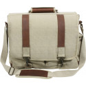 Khaki Vintage Military Canvas Laptop Shoulder Bag With Leather Accents