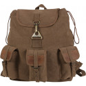 Brown Vintage Canvas Wayfarer Tear Drop Backpack w/ Leather Accents