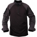 Black Military Heat Resistant 1/4 Zip Tactical Lightweight Combat Shirt