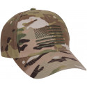 MultiCam Embroidered US Flag Adjustable Rip-Stop Cap Hat